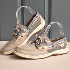 *Sperry Anglefish Grey/Tan Leather Boat Shoes Sz 8